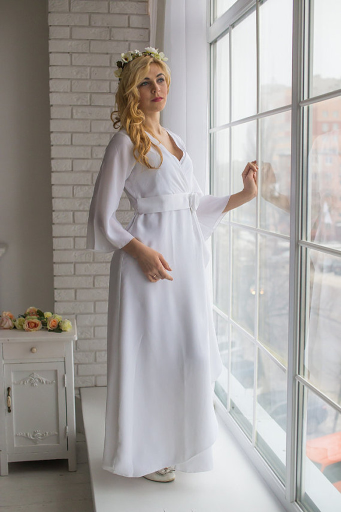 Ankle length Bridal Robe from my Paris Inspirations Collection - Rosette Robe in White