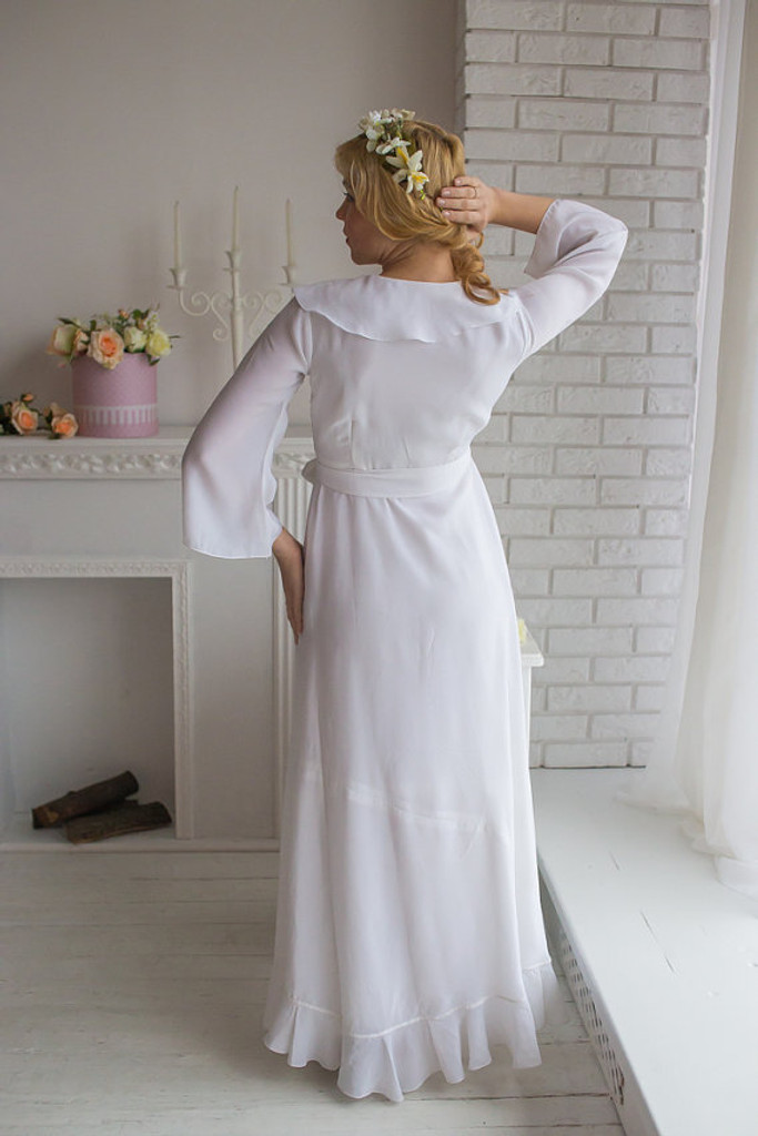 All White Bridal Robe from my Paris Inspirations Collection - Ruffled Trimmed Robe in White