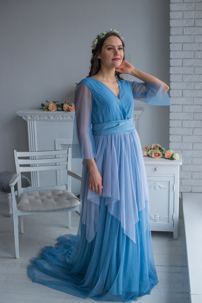 Dusty Blue Mismatched Bridal Robe from my Paris Inspirations Collection - Asymmetrical Beauty in Dusty Blue