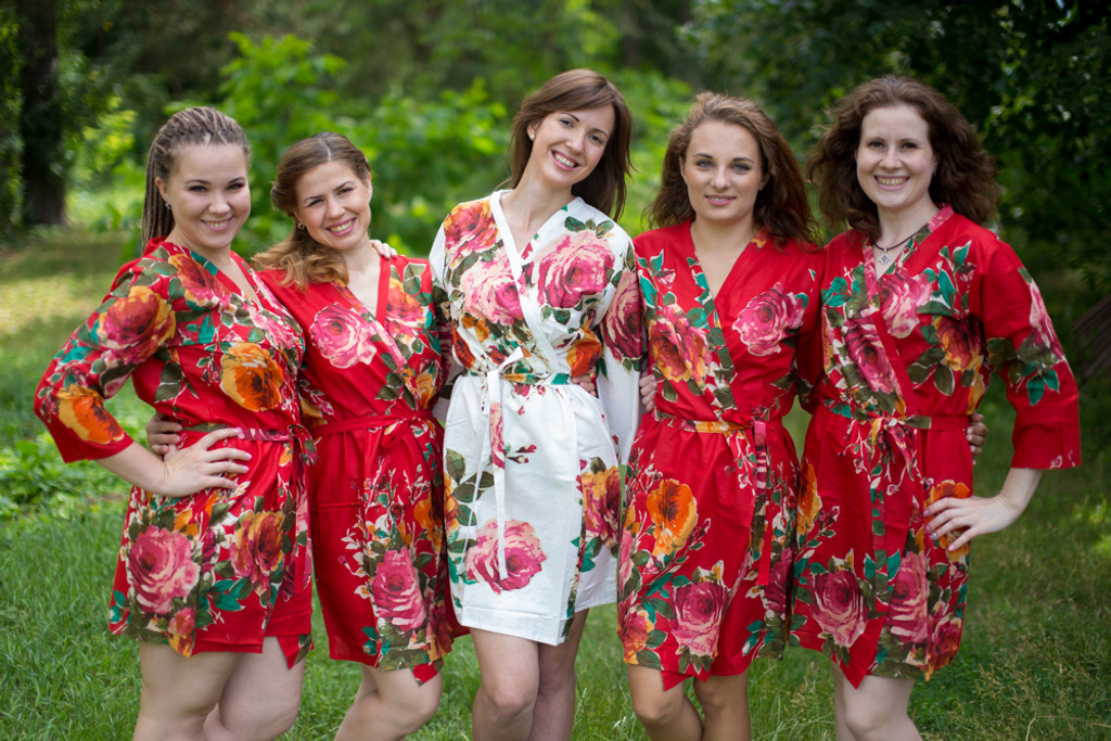 Red Bridesmaids Wedding Robes In Floral Pattern