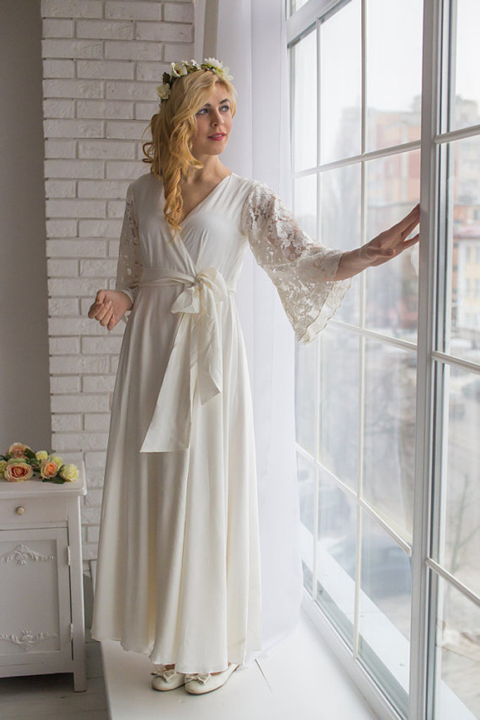 bbeb085e599 All White Bridal Robe from my Paris Inspirations Collection - Statement  Sleeves in White
