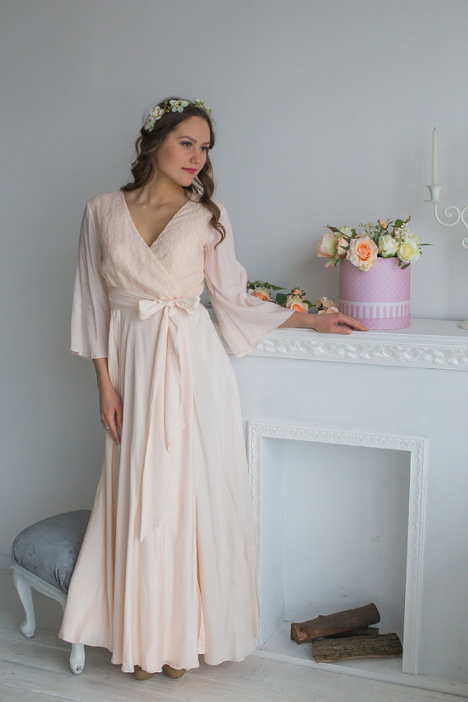 d3c0609ce Blush Bridal Robe in Lace Silk