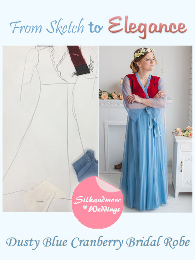 Dusty Blue Cranberry Bridal Robe from my Paris Inspirations Collection - Velvety dreams in Dusty Blue