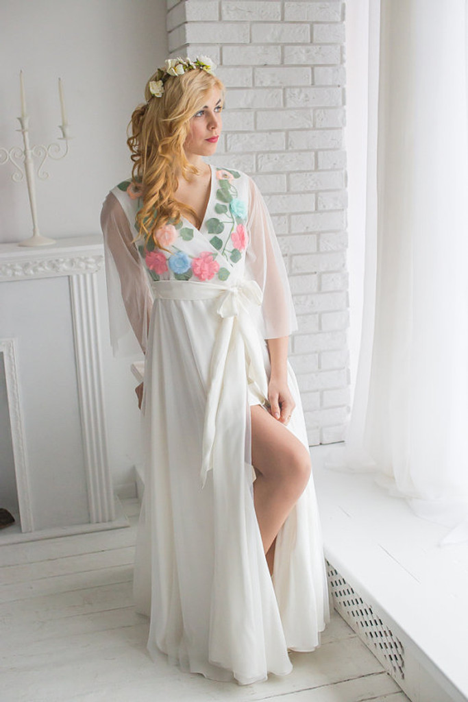 Bridal Robe from my Paris Inspirations Collection - Shy Flowers in White