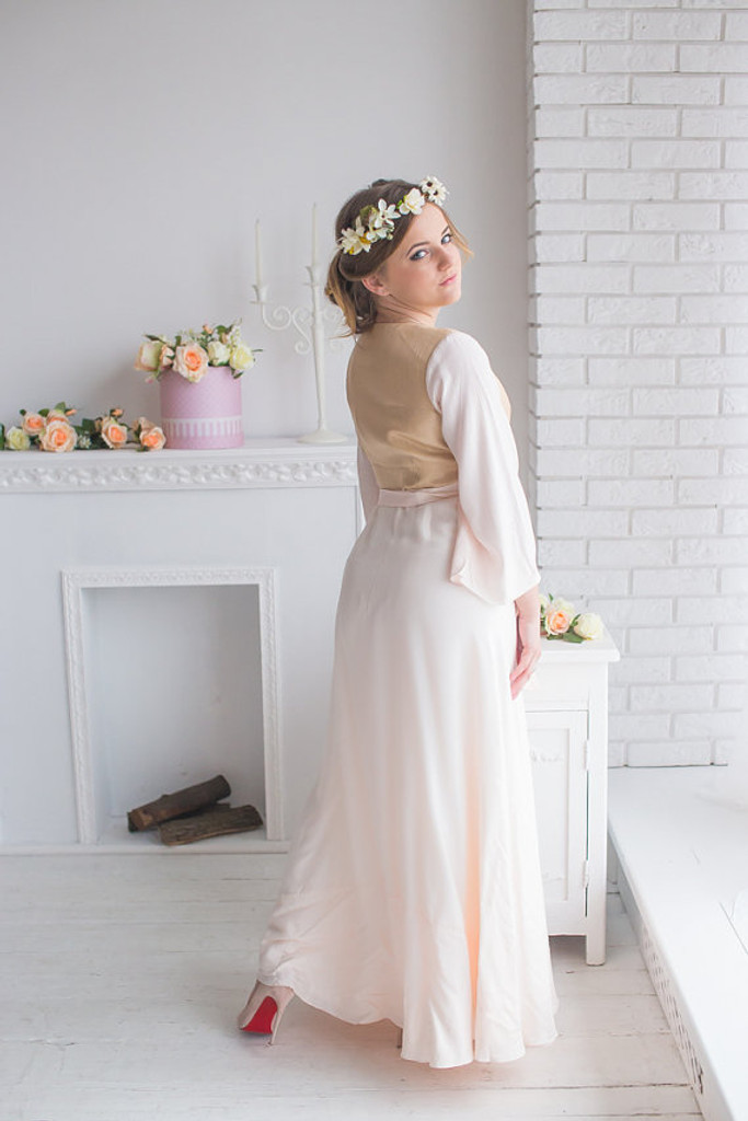 Blush Gold Silk Bridal Robe from my Paris Inspirations Collection - Shimmering Grace in Blush