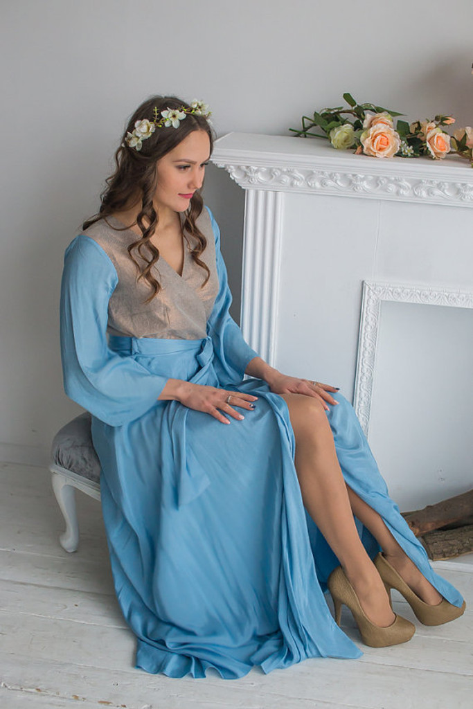 Dusky Blue Copper Silk Bridal Robe from my Paris Inspirations Collection - Shimmering Grace in Dusty Blue