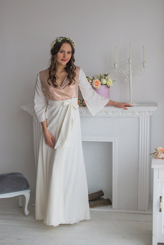 Ivory Rosegold Silk Bridal Robe from my Paris Inspirations Collection - Shimmering Grace in Ivory