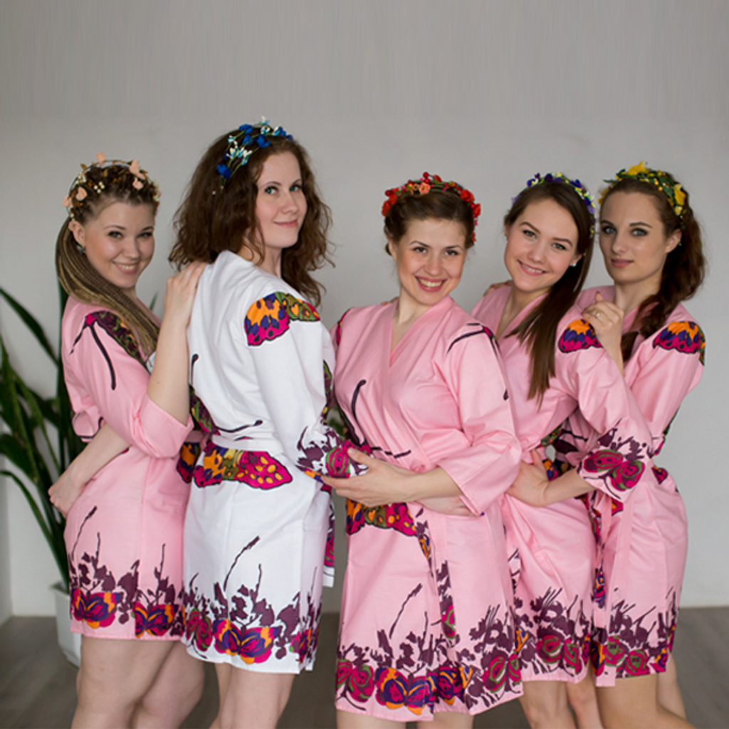 Pink Bridesmaids Wedding Robes In Butterfly Pattern