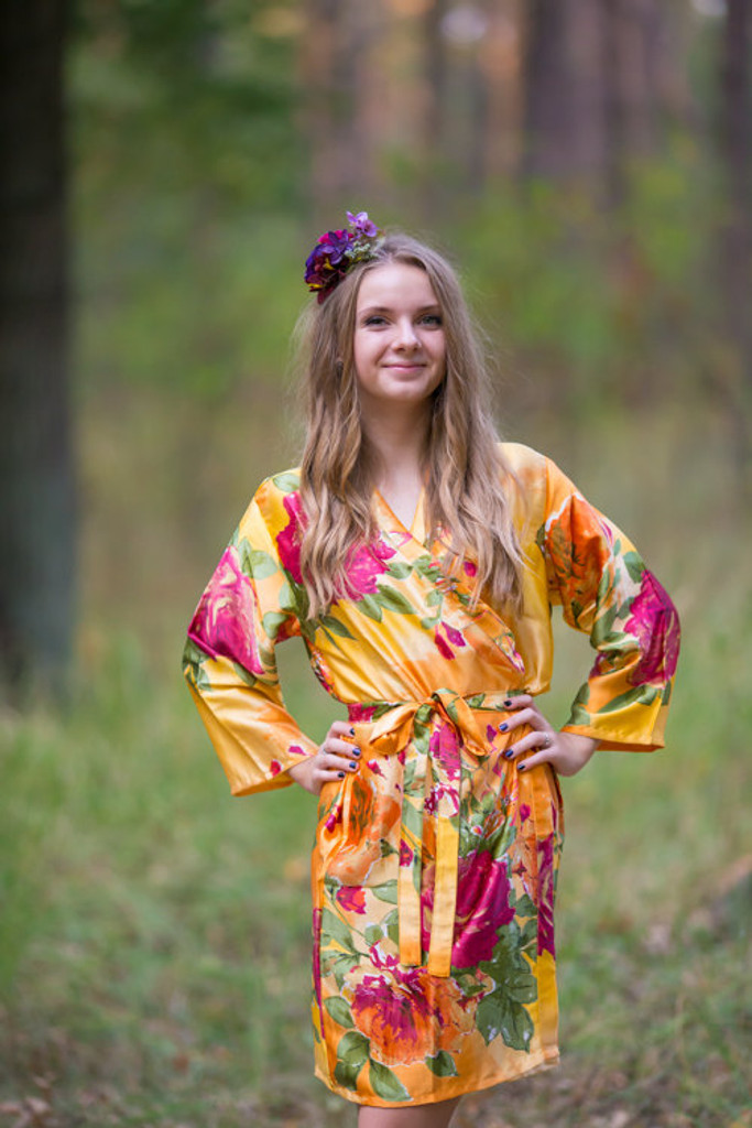 Mismatched Large Floral Blossom Silk Bridesmaids Robes