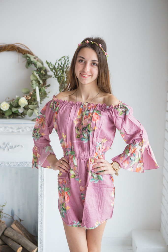 Dusty Toned Mistmatched Bridesmaids Rompers in Dreamy Angel Song Pattern