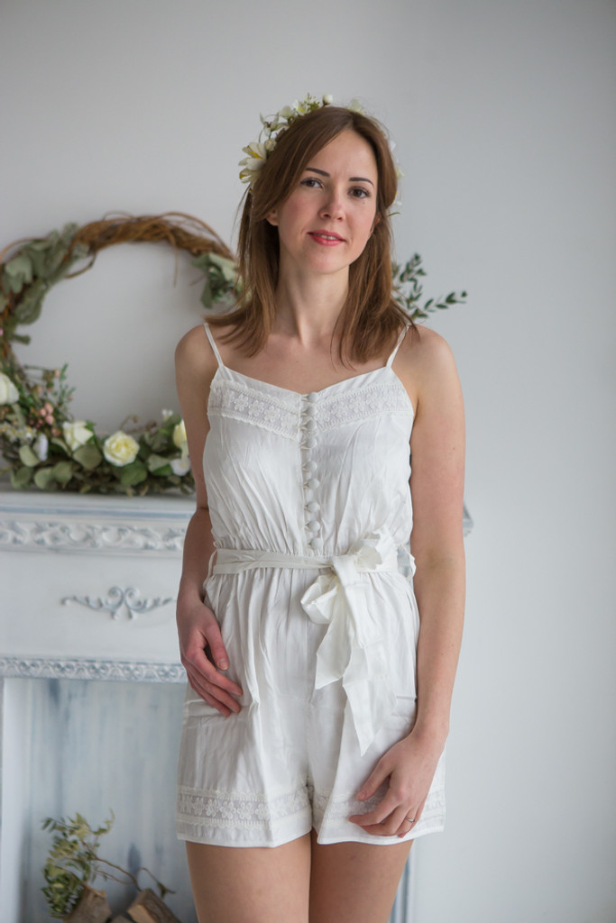 Lace Trimmed Solid Mismatched Rompers