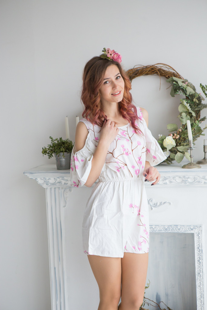 Mismatched Bridesmaids Rompers in Cherry Blossoms Pattern