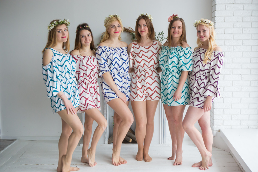 Mismatched Bridesmaids Rompers in Chevron Pattern