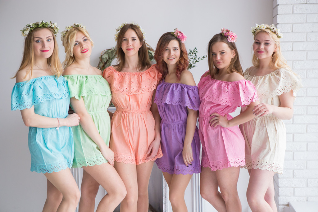 Mismatched Bridesmaids Rompers in Eyelet Pattern