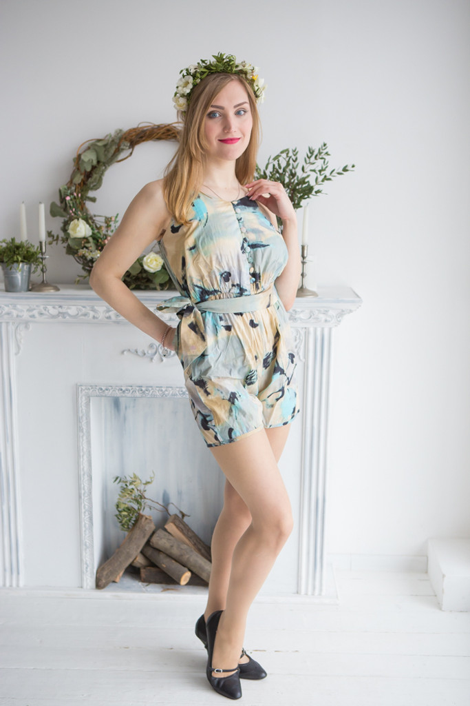 Mismatched Bridesmaids Rompers in Flamingo Watercolor Pattern