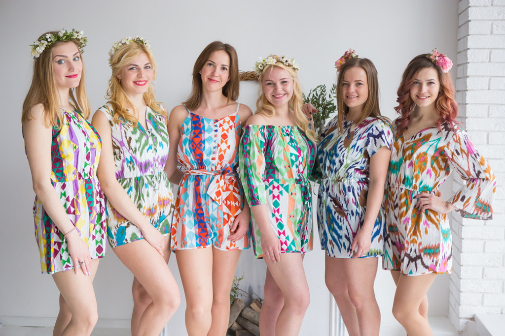 Mismatched Bridesmaids Rompers in Ikat and Aztec Patterns