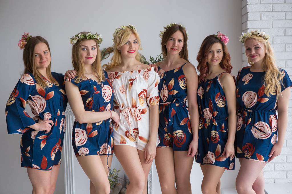 Mismatched Bridesmaids Rompers in Navy Blue Rumor among fairies Pattern
