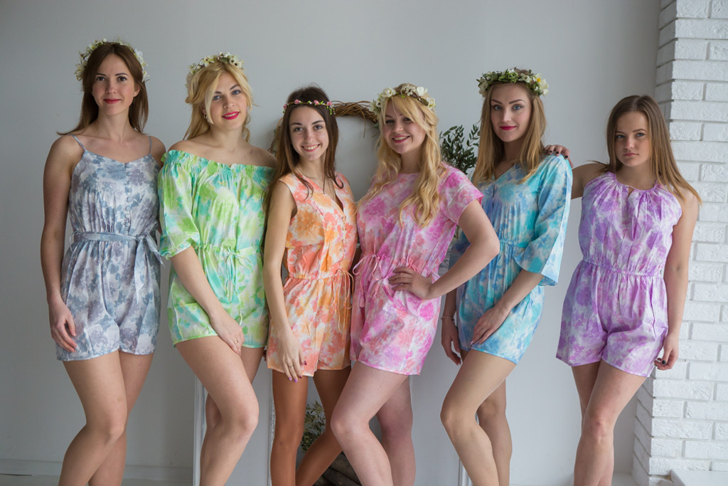 Mismatched Bridesmaids Rompers in Ombre Fading Leaves Pattern
