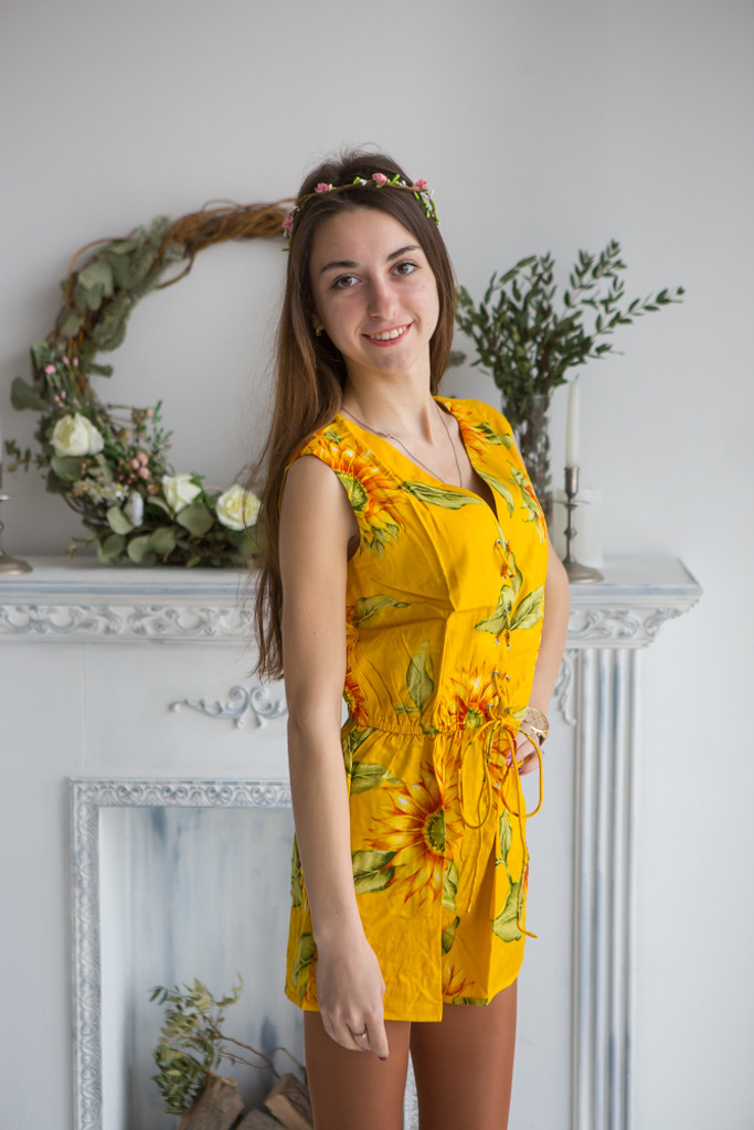 Mismatched Bridesmaids Rompers in Sunflower Pattern