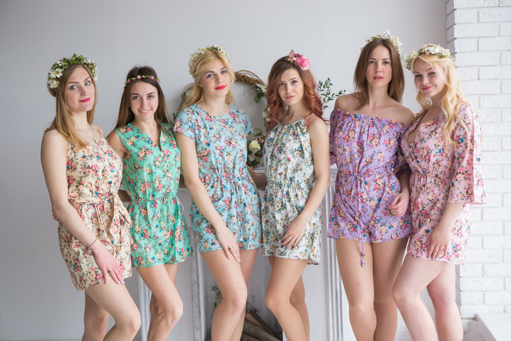 Mismatched Bridesmaids Rompers in Vintage Chic Floral Pattern