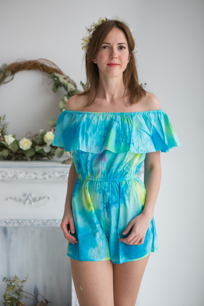 Mismatched Bridesmaids Rompers in Watercolor Splash Pattern