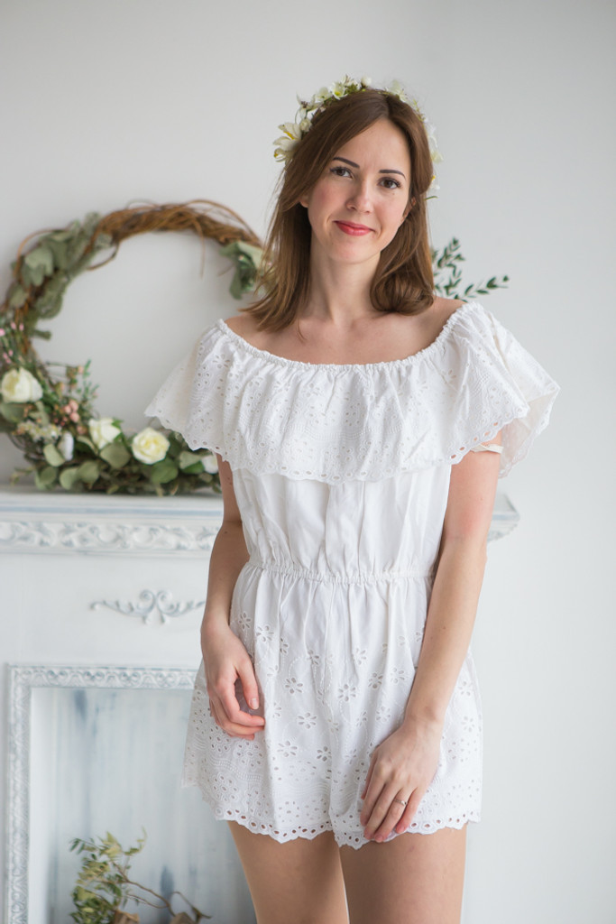 Mismatched Bridesmaids Rompers in White Eyelet Pattern