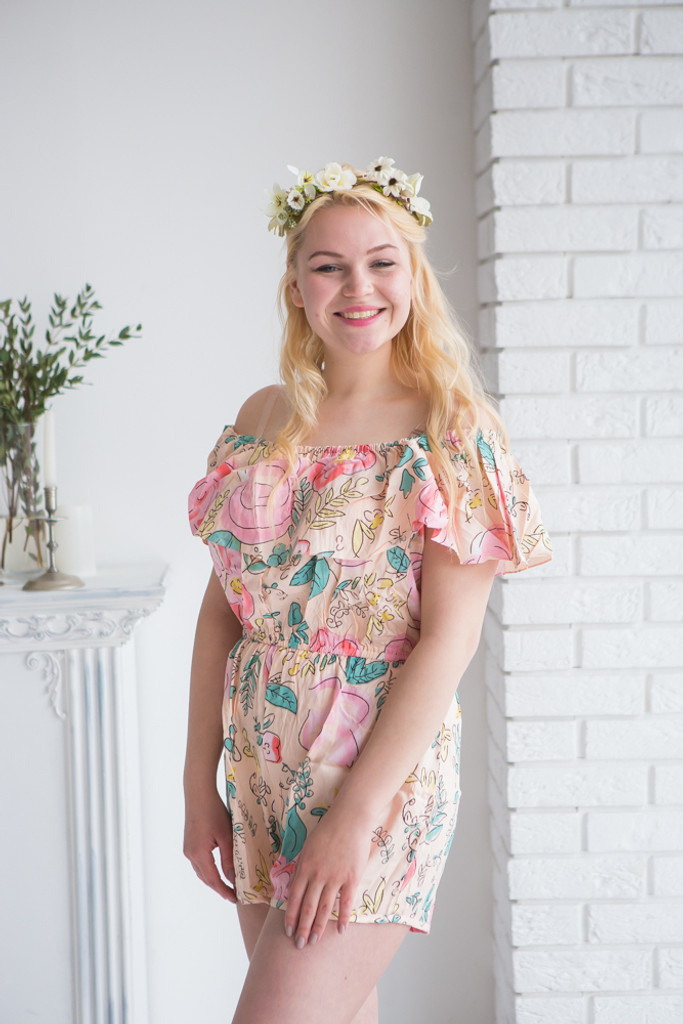 Off the shoulder Mismatched Bridesmaids Rompers in Blush Whimsical Giggles Pattern