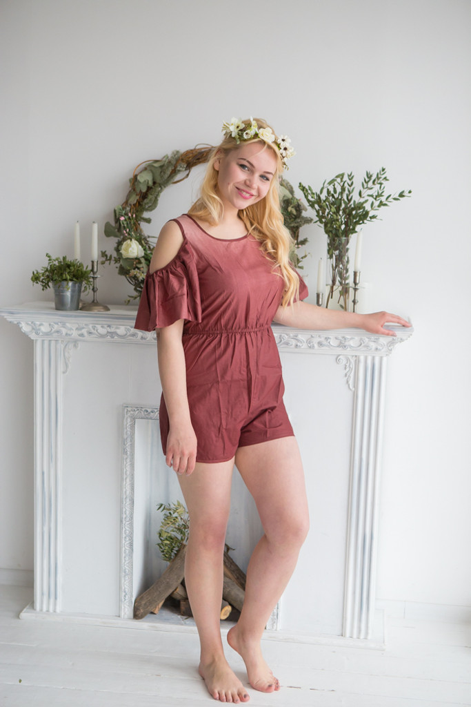 Off-the Shoulder Mismatched Bridesmaids Rompers in Ombre Dip Dye Pattern