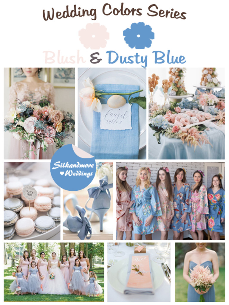 Blush And Dusty Blue Wedding Colors Palette Robes By