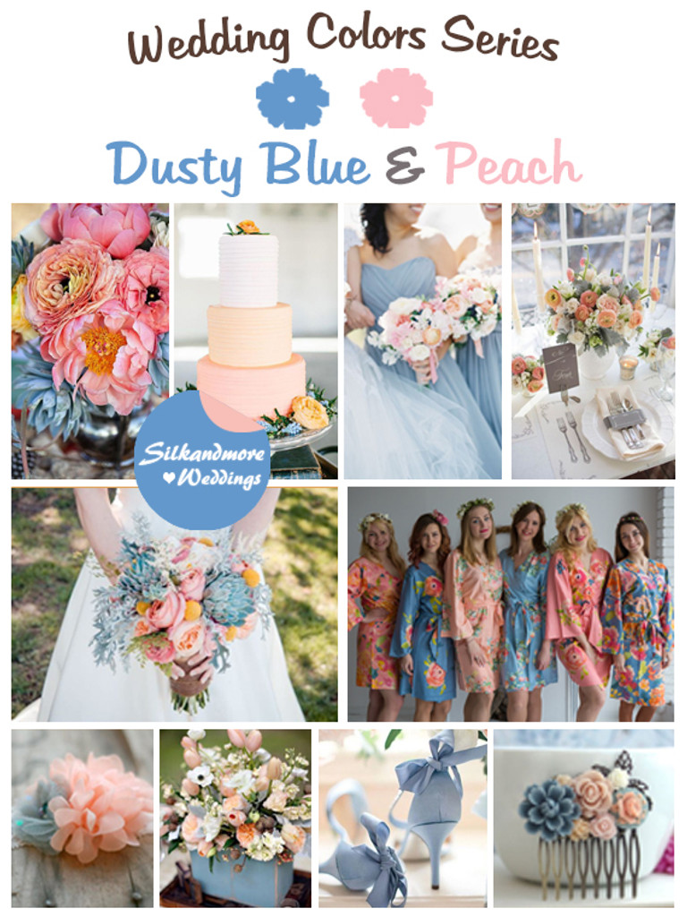 Dusty Blue And Peach Wedding Colors Palette Robes By Silkandmore
