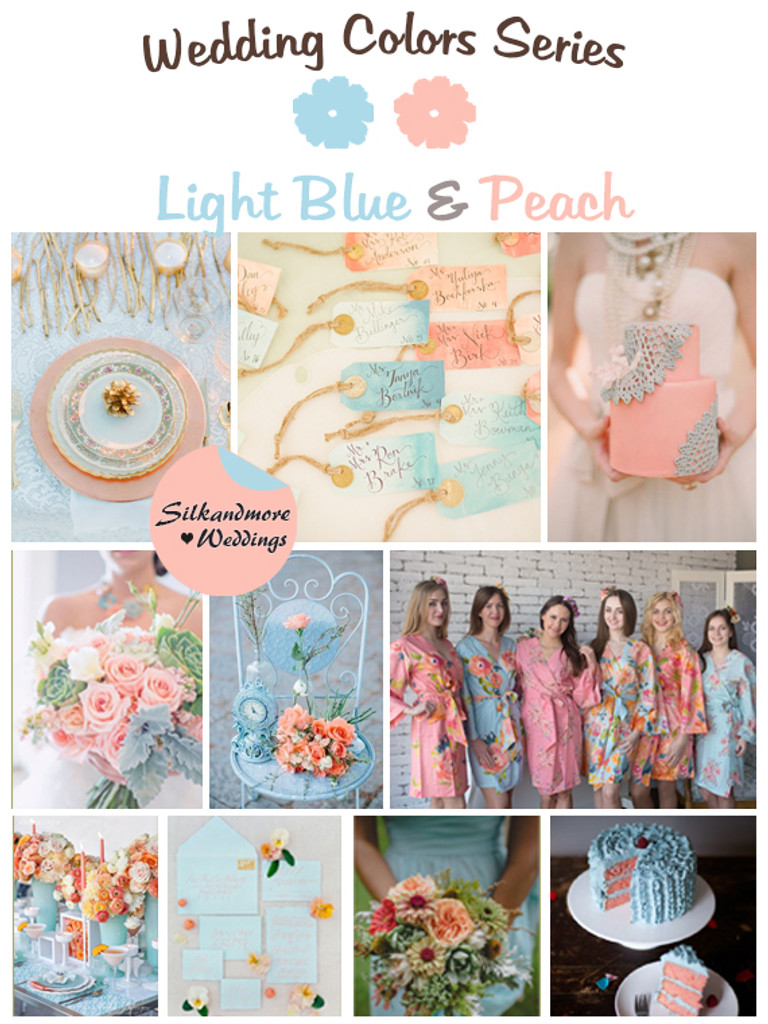 Light Blue And Peach Wedding Colors Palette Robes By Silkandmore