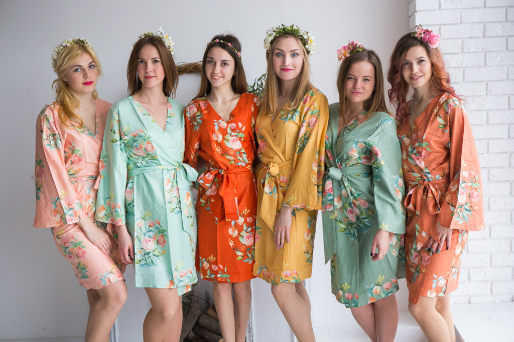 Mint, Sage, Peach, Mustard and Orange Wedding Color Robes - Premium Rayon Collection