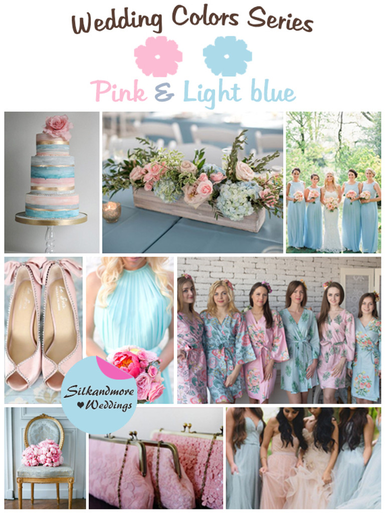 Pink And Light Blue Wedding Color Palette Robes By Silkandmore