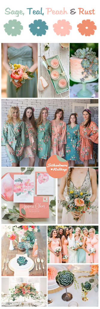 Sage, Teal, Peach and Rust Wedding Color Robes - Premium Rayon Collection