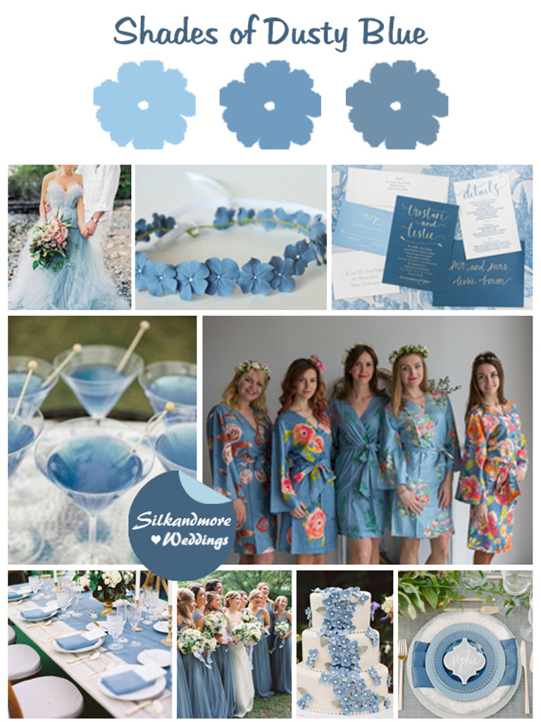 Shades of Dusty Blue Wedding Color Robes - Premium Rayon Collection