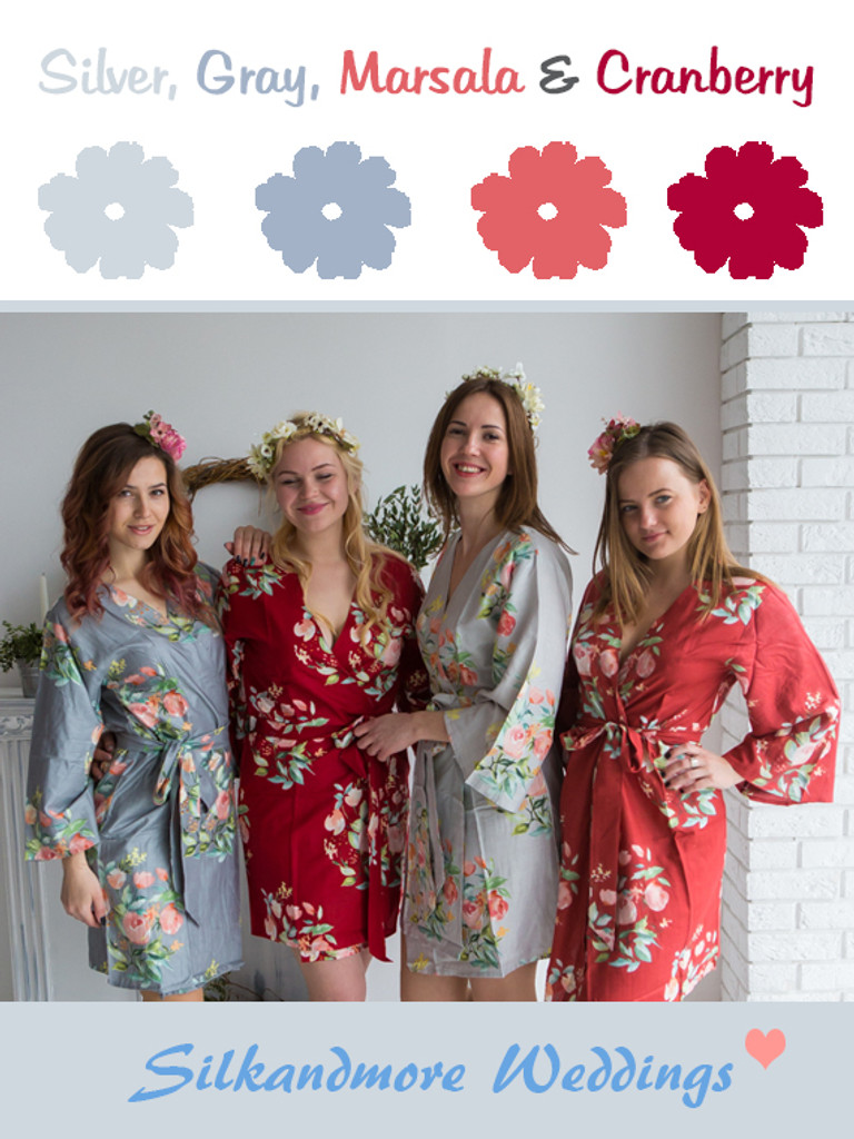 Silver, Gray, Marsala and Cranberry Wedding Color Robes - Premium Rayon Collection