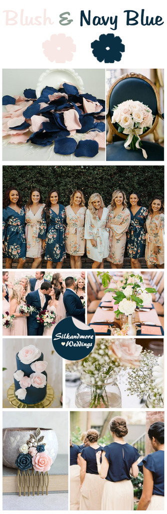 Blush and Navy Blue Wedding Color Robes - Premium Rayon Collection