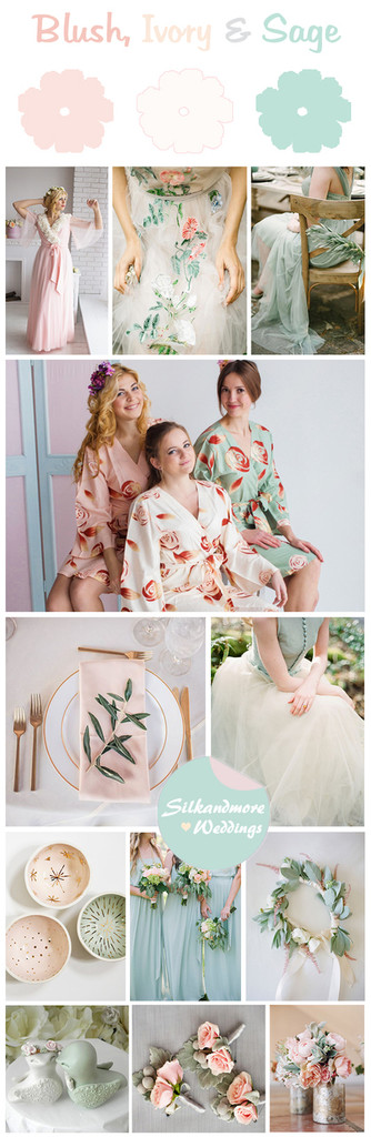 Blush, Ivory and Sage Wedding Color Robes - Premium Rayon Collection
