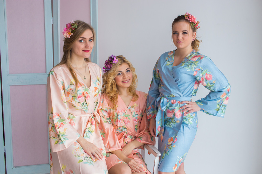 Blush, Peach and Dusty Blue Wedding Color Robes - Premium Rayon Collection