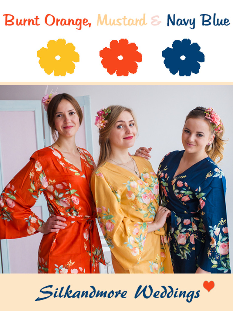 Burnt Orange, Mustard and Navy Blue Wedding Color Robes- Premium Rayon Collection