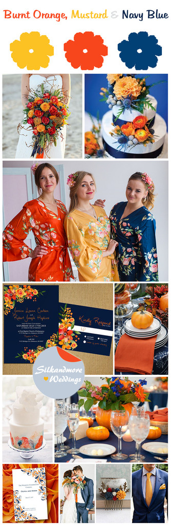 Burnt Orange Mustard And Navy Blue Wedding Color Palette Robes By