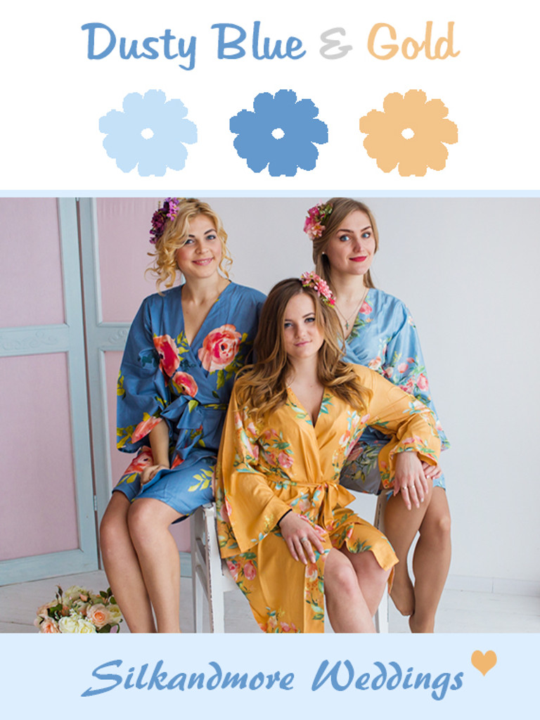 Dusty Blue and Gold Wedding Color Robes- Premium Rayon Collection