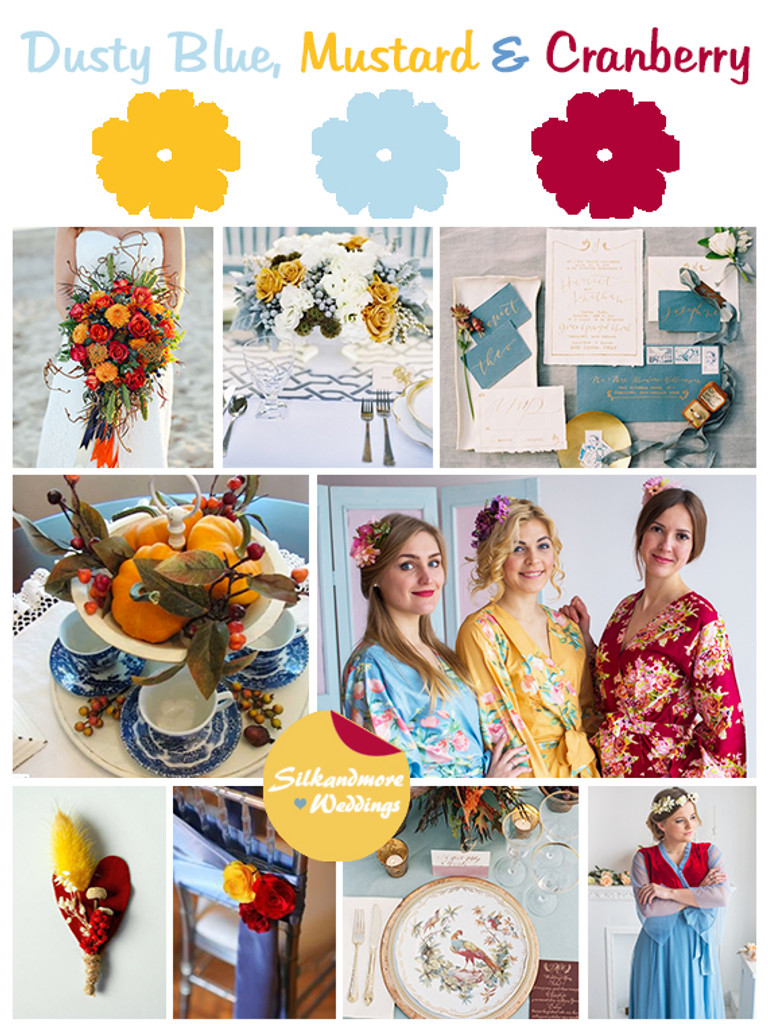 Dusty Blue, Mustard and Cranberry Wedding Color Robes- Premium Rayon Collection