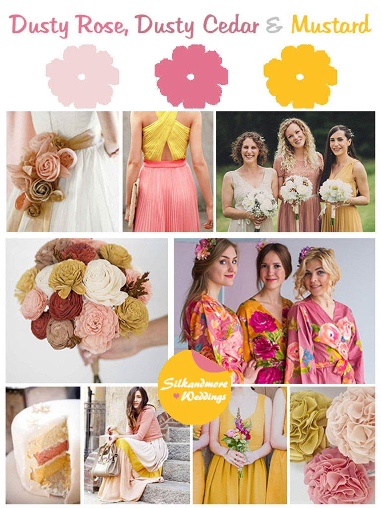 Dusty Rose, Dusty Cedar and Mustard Wedding Color Robes- Premium Rayon Collection
