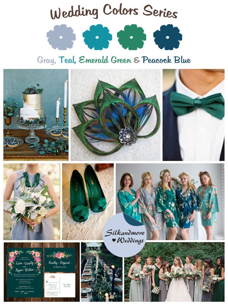 Gray Teal Emerald Green And Peacock Blue Wedding Color Palette