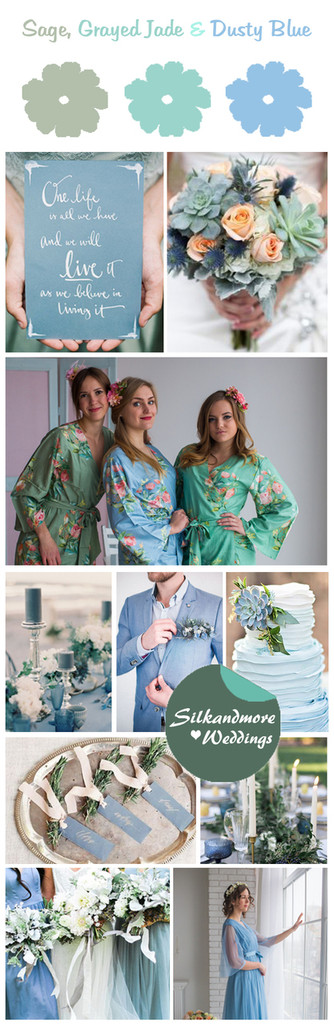 Grayed Jade, Sage and Dusty Blue Wedding Color Robes- Premium Rayon Collection