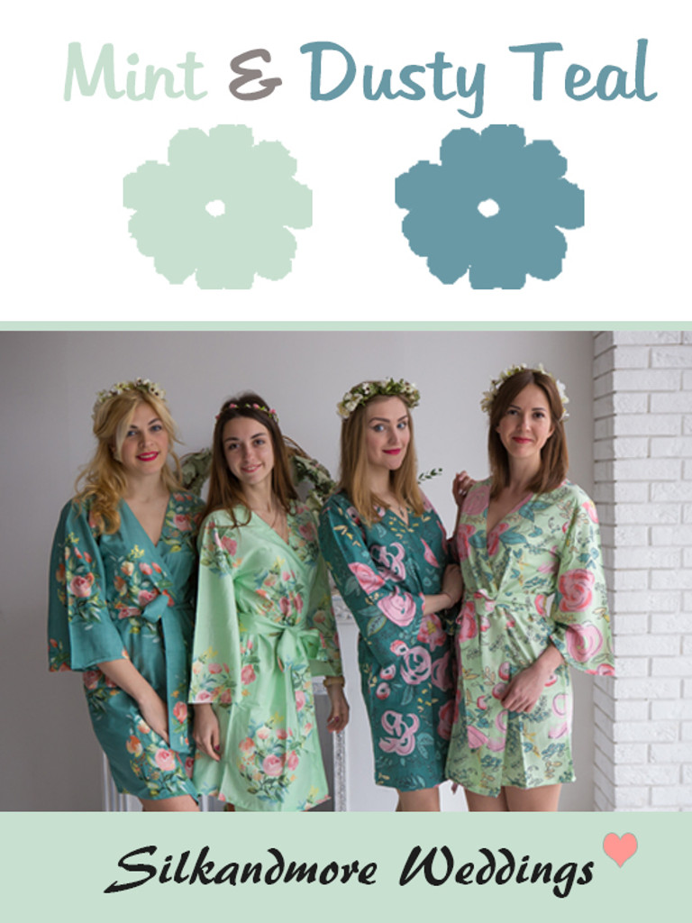 Mint and Dusty Teal Wedding Color Robes- Premium Rayon Collection