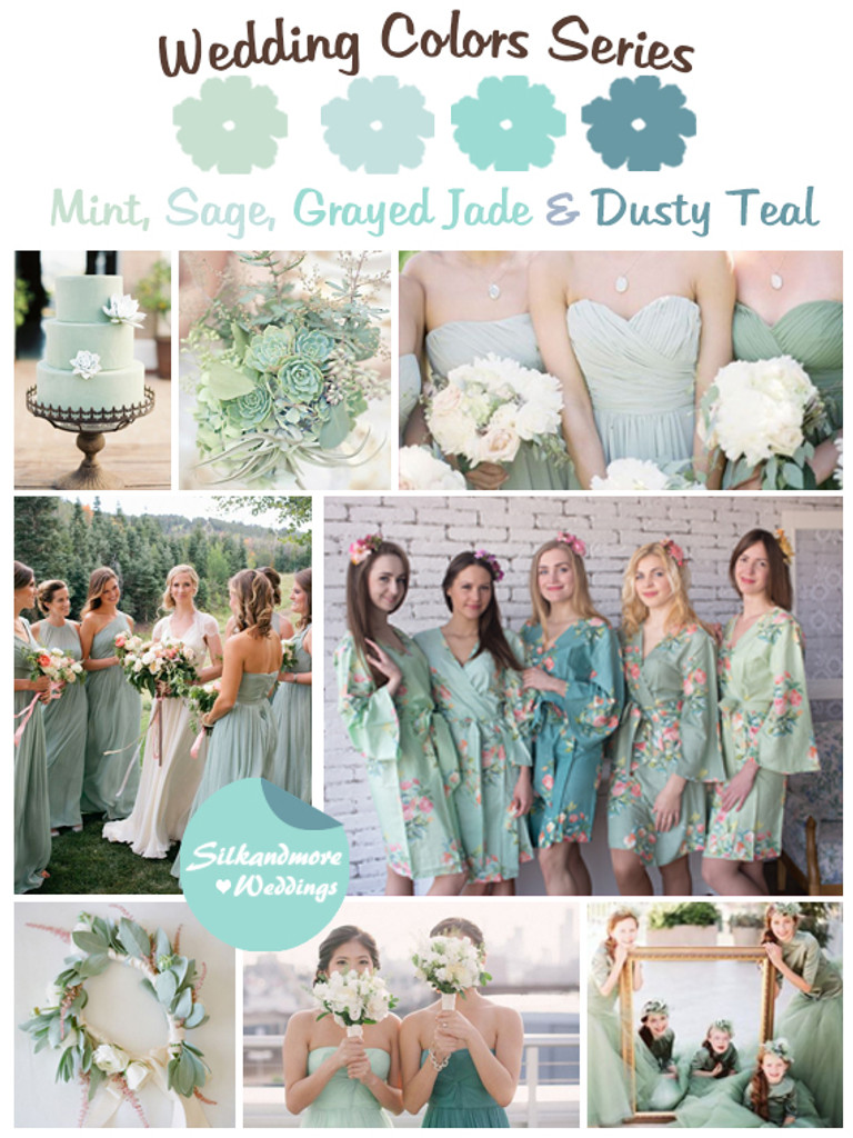 Mint Sage Grayed Jade And Dusty Teal Wedding Color Palette Robes