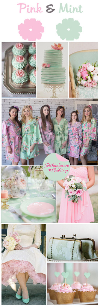 Pink And Mint Wedding Color Palette Robes By Silkandmore