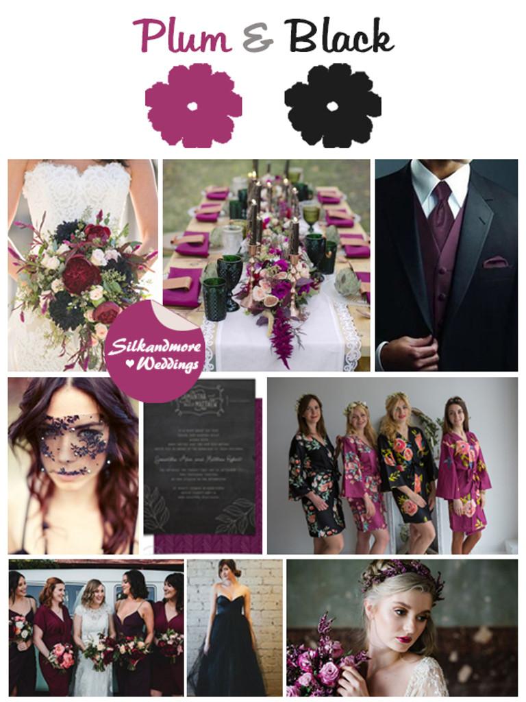 Plum and Black Wedding Color Robes- Premium Rayon Collectio